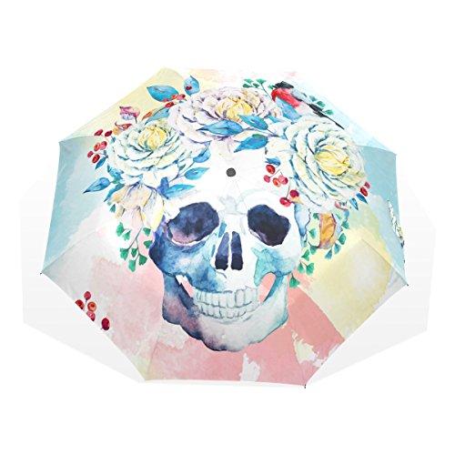GUKENQ - Paraguas de Viaje con diseño de Calavera de azúcar, Ligero, Anti Rayos UV, para Hombres, Mujeres y niños, Resistente al Viento, Plegable, Paraguas Compacto