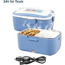 AUTOPkio Caja de Almuerzo Eléctrica de Camión, Calentadores Eléctricos Portátiles, 24V 35W Calentador de Alimentos Para Camión Caja de Almuerzo de Conductor 1.5L Calefacción de Recipiente Bento(Azul)