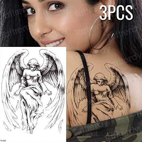 tzxdbh 3pcs / Lot gefälschte Tätowierung griechische Götter Mythologie temporäre Tätowierung Aufkleber Skizzen Tattoo Designs Ärmel Tattoo Engel Flügel Tätowierungen