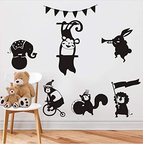 Tiere Eichhörnchen Lion Rabbit Wandaufkleber Für Kinderzimmer Kindergarten Baby Home Decor Poster Affe Elefant PferdWandtattoos 55x55 cm -