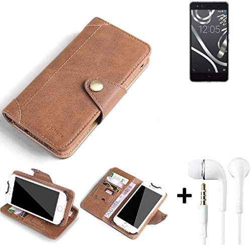 K-S-Trade® Schutzhülle für BQ Readers Aquaris X5 Cyanogen Hülle Tasche Handyhülle Handytasche Wallet Flipcase Cover Handy Tasche Kunsteleder Braun Inkl. in Ear Headphones