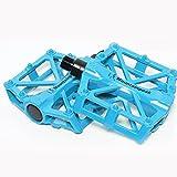 EMOTREE 2x Fahrrad Pedalen Blau Plattform Fahrradpedale Rennrad MTB Trekking Rutsch Aluminium Spinnennetz-Design
