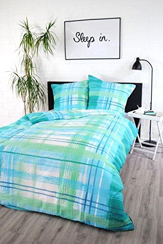 jilda-tex Seersucker Bettwäsche Watercolor 100% Baumwolle Sommerbettwäsche Verschiedene Farben/Größen (135 x 200 cm, Blau)