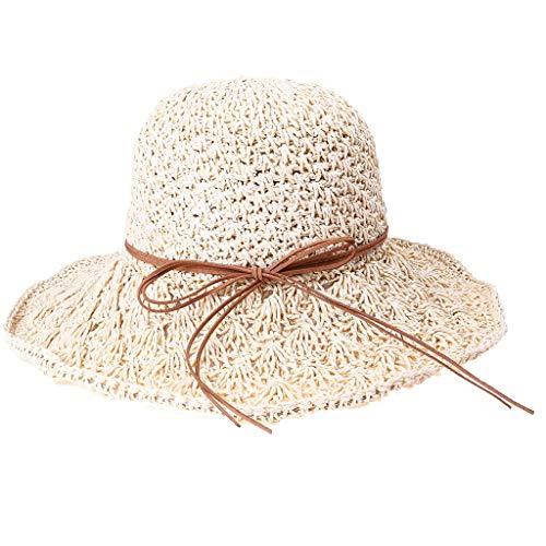 Sonnenhut strandhut, Frühling und Sommer Frauen handgemachte Sonnenschirm faltbare Lederband mit Strohhut -
