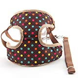 #6: VUGSUCE Knitted Harness Dog Belt Set Vest Mesh Adjustable Breathable Pet Harness Legs Chest Strap for Chihuahua Puppy Small Dogs - S, Brown