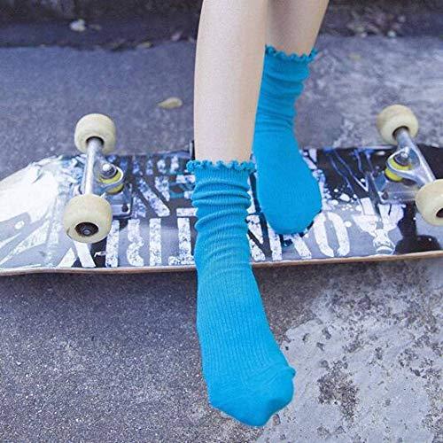 WGHUA 1 Pairs High School Girl Hohe Socken Lose Feste Farben Doppel Nadeln Stricken Weiche Baumwolle Lange Socken Frauen -