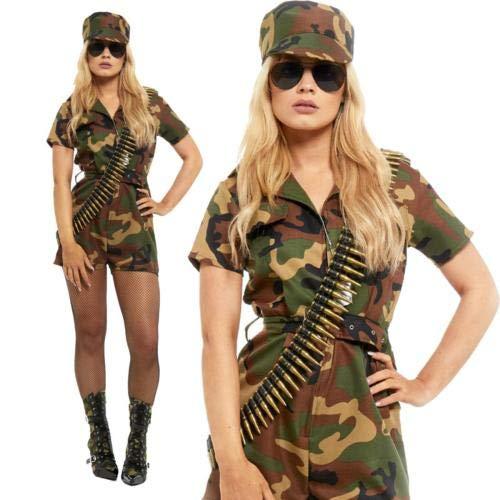 Frauen-Dame-Soldat Mädchen Kostüm Kapitän Commando Kampf ()