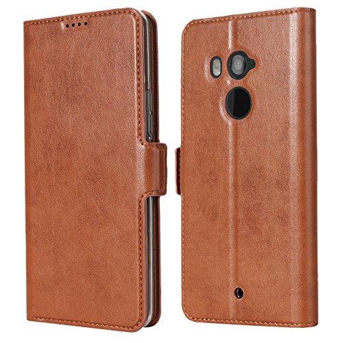 Eastcoo HTC U11 Plus PU Leder Tasche Flip Ledertasche Handyhülle kristallklarer TPU View Standfunktion Kartenfach Holder Magnetverschluß Doppelt geschichtet wallet Case Hülle für HTC U11 Plus (U11 Plus, Brown) (Htc 1 Telefon-abdeckung)