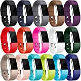 HUMENN Armband Für Fitbit Charge 2, Weich Silikon Sports Ersetzerband Fitness Verstellbares Uhrenarmband für Fitbit Charge2 Klein 16 Stück