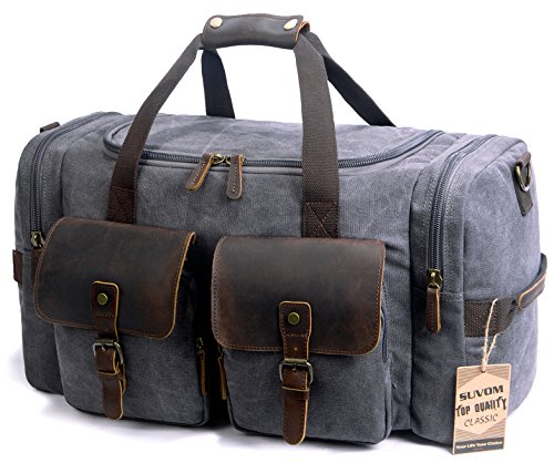 SUVOM Canvas Holdall Weekend Bag Overnight Bag Leather Travel Duffle Bag Carry O