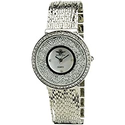 Women's Watch MICHAEL JOHN Silver Quartz Steel Case Analogue Display Strass Steel Band Silver