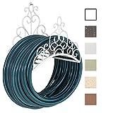 CLP Wandschlauchhalter LINDSEY aus stabilem Eisen | Gartenschlauchhalter mit stilvollen Verzierungen im Jugendstil | In verschiedenen Farben erhältlich Weiß