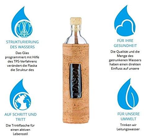 Design Natural Cork 0,5 Liter - Flaska Trinkflasche Glasflasche + 2 Korken
