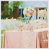 ShinyBeauty, tovaglia da tavolo con lustrini, 125x 180cm, tessuto con lustrini champagne per matrimonio, Lino, Blush Color, 125x180cm Sequin Tablecloth