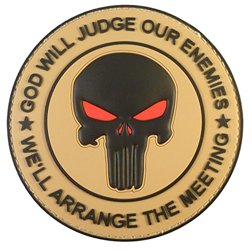 2AFTER1 Desert Mud AOR1 God Will Judge Our Enemies Punisher DEVGRU PVC Fastener Patch (Army Desert Uniform)