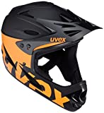 UVEX Erwachsene 9 Bike Fullfacehelm, Black/Orange, 55-56