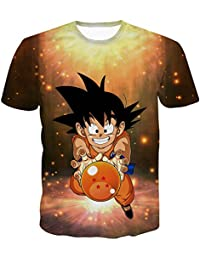 PIZZ ANNU Dragon Ball Series Camiseta Hombre 3D Dragon Ball Print Camiseta Sencilla Creativa de Manga