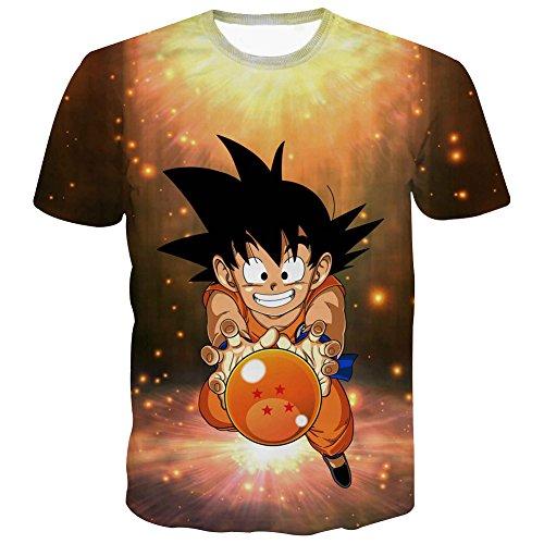 PIZZ ANNU Dragon Ball Series Camiseta Hombre 3D Dragon Ball impresión  Simple Creativo Manga Corta Camiseta af5241ee2c97e