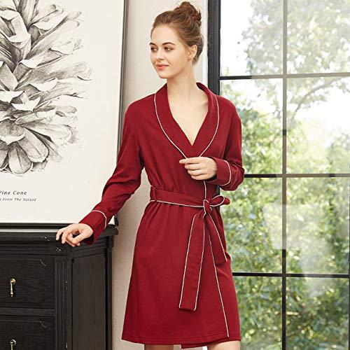 OLLOLCCY Womens Lightweight Cotton Knit V-Ausschnitt Lange Kimono Roben Bademantel Weiche Nachtwäsche Loungewear Pocket Bademantel für Frauen,Red,XL - Knit Womens Pyjamas
