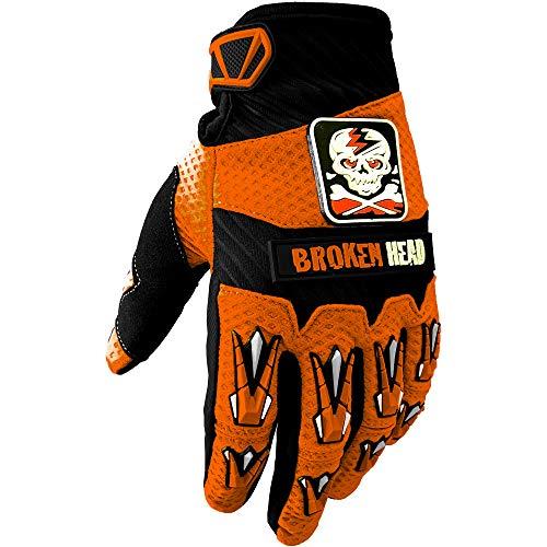 Broken Head MX-Handschuhe Faustschlag - Motorrad-Handschuhe Für Motocross, Enduro, Mountainbike - Orange - Größe XL