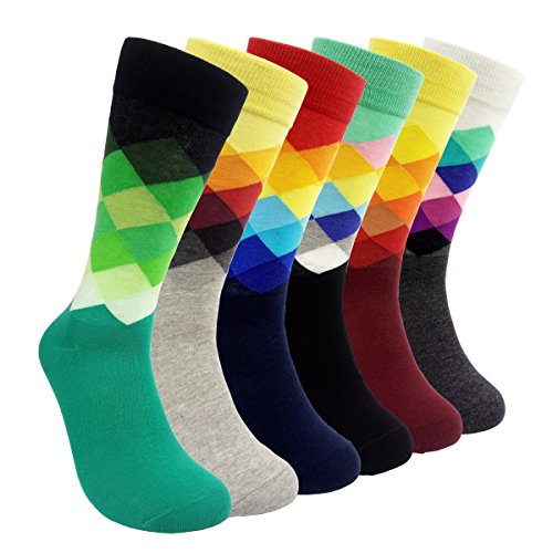 HSELL 6 Packs Men Color Dress Socks Funny Colorful Rainbow Argyle High Fun Sock,Multicolors,One Size