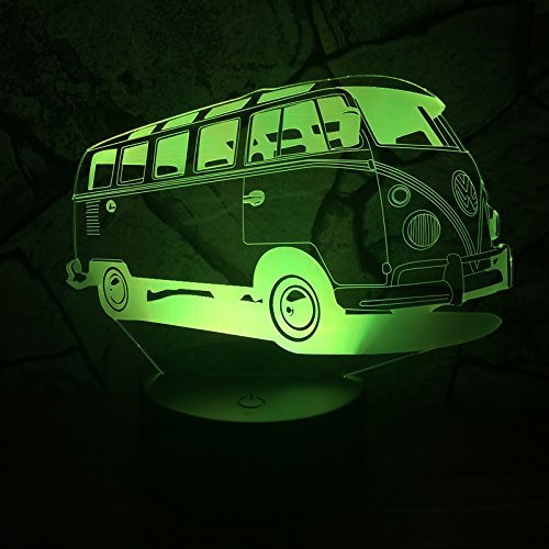 3D Bus Lampe USB Power 7 Farben Amazing Optical Illusion 3D wachsen LED Lampe Formen Kinder Schlafzimmer Nacht Licht. (Wrestling-kaffee)