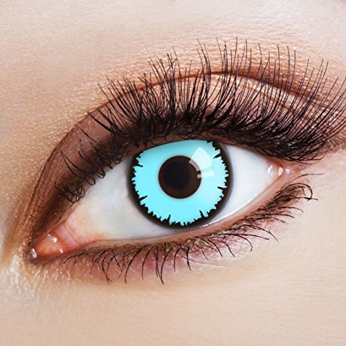 aricona Farblinsen  blaue Farbige Kontaktlinsen Blue Vampir – Deckende 12-Monatslinsen, bunte Farblinsen für Karneval & Halloween Kostüme (Starke Frau Halloween Kostüm)