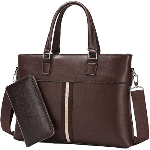 Echtes Geschäft Männer Handtaschen Computer Echtes Leder Taschen Schultertaschen Skipes Aktenkoffer Brown