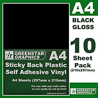 GREENSTAR GRAPHICS ® 10 SHEET PACKS A4 Self Adhesive Craft Vinyl (Sticky Back Plastic) Suitable for Silhouette Cameo/Curio/Portrait & Scan N Cut (A4 BLACK GLOSS 10)