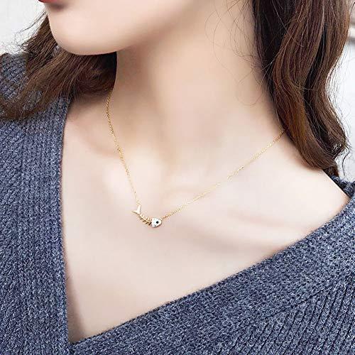 0lwmk0 S925 Silber Halskette Neue Fischknochen Anhänger Schlüsselbein Kette weiblichen Geschenk 18 Zoll (In Silber-kette 18)