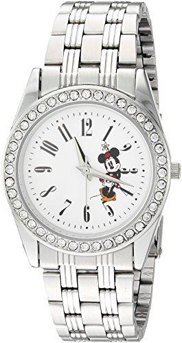 Disney Women's 'Mickey Mouse' Quartz Metal and Stainless Steel Casual Watch, Color Silver-Toned (Model: WDS000383) image