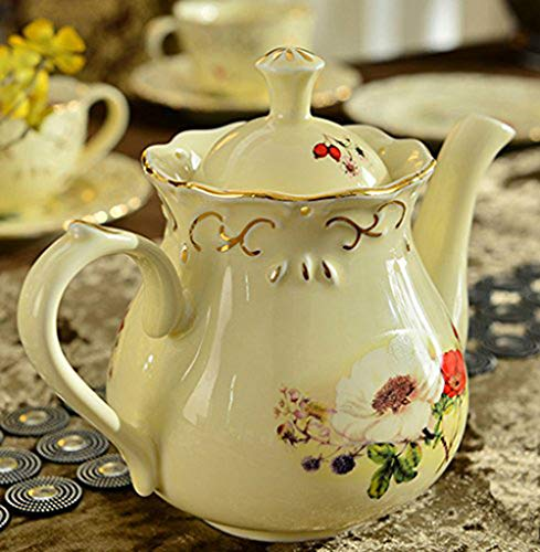 ufengke-ts Europäische Elfenbein Porzellan Teekanne, Gold Rand Weinlese Blume Keramik Teekanne Für Geschenk und Haushalts, Büro 500Ml