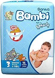Sanita Bambi Baby Diapers Regular Pack Size 3, Medium, 6-11 KG, 15 Count