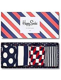 Happy Socks Hombre 4 Paquete óptica calcetines caja de regalo, Gris