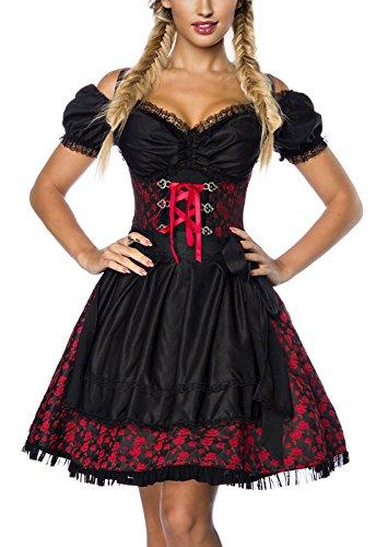 DIRNDLINE 3-tlg. Mini-Dirndl Trachtenkleid aus Jacquard (Kleid, Schürze & Bluse) in 5 Varianten A70000, Größe:36;Farbe:rot