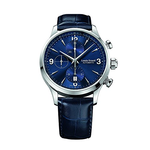 LOUIS ERARD 1931 78225AA05.BDC37 GENTS BLUE CALFSKIN 44MM AUTOMATIC DATE WATCH
