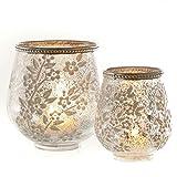 stimmungsvolles Tisch-Licht Teelicht-Glas florales Muster antik-silber durchscheinend Preis für 1 Stck. groß