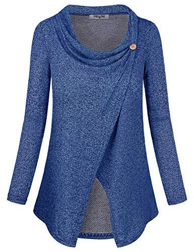 Hibelle Damen Langarm-Layered Still-Tops für das Stillen Medium (US 10-12) Blau -