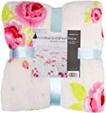 Supersoft Vintage Rose Printed Microfleece Blanket in White (150cm x 200cm)