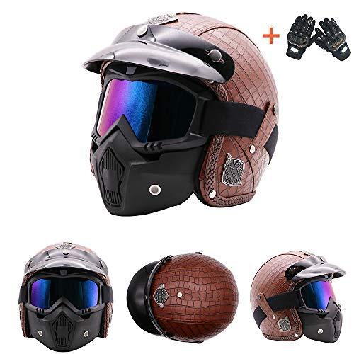 Voll-leder-fahrer-handschuhe (Retro Harley Moto Helm Custom Chopper Cafe Racer Biker Jet Helm Pilot Leder Visier XL (59-60cm) Kostenlose Winddichte Maske Handschuhe,M)