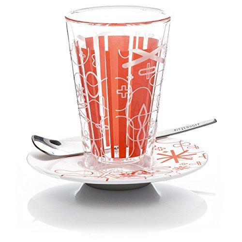 Ritzenhoff 2610006 Latte Macchiato Glas mit Untertasse Rashid F11