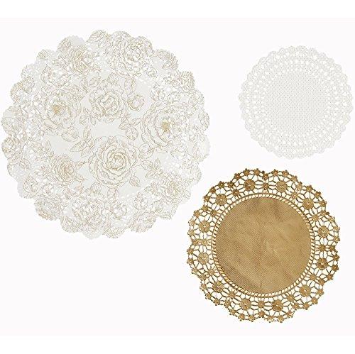 Doilies, 24 St., sortiert, silber-weiß - Silber-Weiße Doilies in 3 Größen - machen Sie Ihre Hochzeitsdekoration perfekt