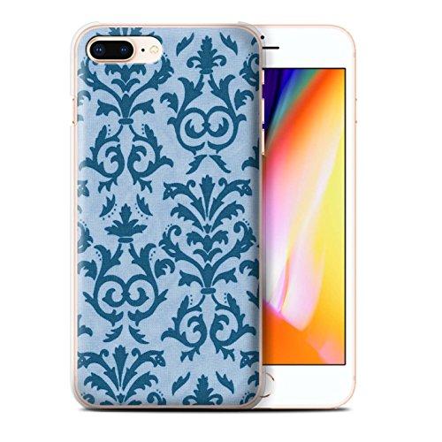Stuff4 Hülle / Case für Apple iPhone 8 Plus / Rosa Muster / Blättern Sie Muster Kollektion Blau