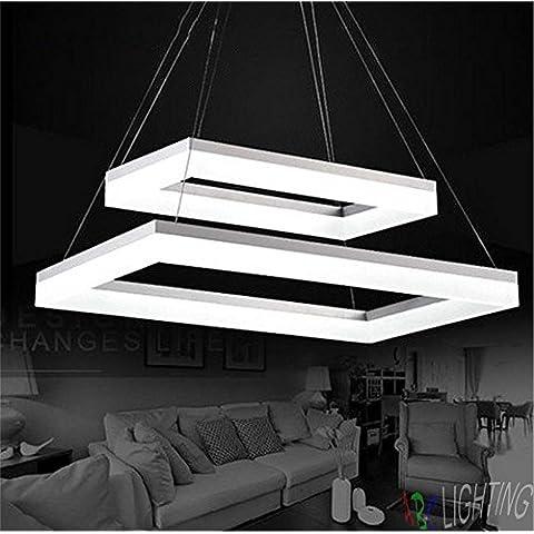 CAC Moderna 2 rettangolo LED luci pendenti per sala da pranzo bianca LED acrilico Ciondolo lampada LED Lustri liquidi Lamparas de techo illuminazione,W58cm L80cm bianco