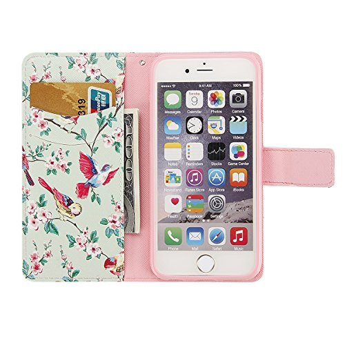 Etsue pour iPhone 6/6S Coque,Premium Cuir Etui Coque Stand Portefeuille Case Avec Coloré Motif pour iPhone 6/6S,[ Leopard Rose ] Motif Embossing Colorful Pattern Housse pour iPhone 6/6S,Bookstyle PU F Fleur,Pie