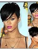 JIAFA BBDM Capless Nouveau Style de Rihanna d'arrivée Couleur 1b Noir Courtes Perruques de Cheveux synthétiques Perruque Perruques Naturelles Sexy, 10 inch-1b