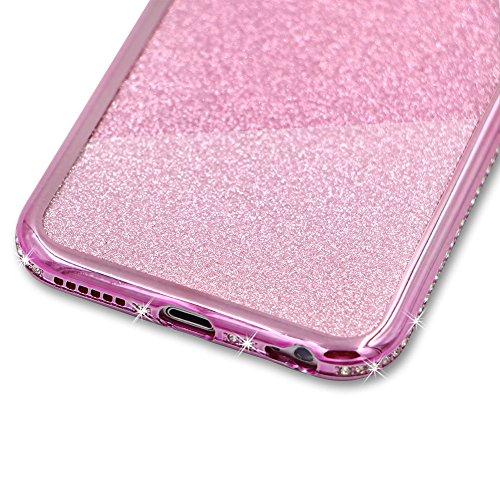 Für iPhone 7 Hülle,Für iPhone 8 Spiegel Hülle Mirror Case,Funyye Luxuriös TPU Handyhülle Gold Plating Silikon Schutzhülle Luxus Glänzend Glitzer Kristall Strass Rahmen Weich TPU Handy Tasche Ultra Dün Diamant,Rosa