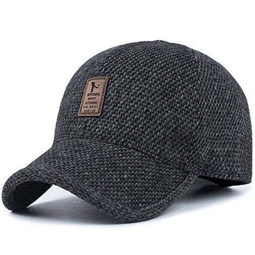 Voilalove cappello da baseball da baseball con visiera a becco di lana calda invernale in lana da uomo, con scaldamani a pieghe (nero)