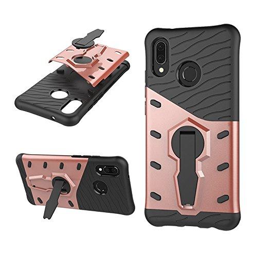 Phone Hülle Cover, Für Huawei P20 Lite, 360 Grad Spin Rüstung TPU + PC Fall für Huawei P20 Lite mit Halter (Color : Rose Gold)