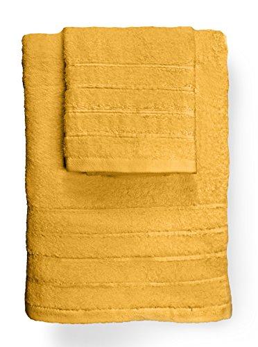 Juego de 3 Toallas amarillas (100% algodón, 50 x 90 cm)